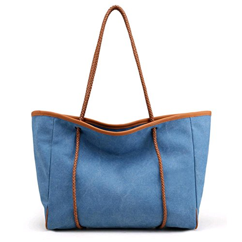 Blue Simple Brown Bag Lady Workplace Nature Shoulder Ol Tote Commuter Canvas Shtbo wIvPOqO