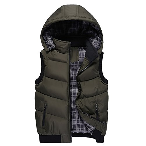 OCHENTA Unisex Stand Collar with Removable Hood Padded Quilted Vest Army Green US Size M(Tag Size XL)