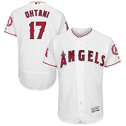 Men's Los Angeles Angels #17 Shohei Ohtani Majestic White Flexbase Baseball Player Jersey - Size40