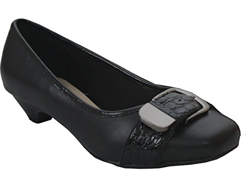Ladies Womens Comfort Plus Patterned Buckle Front Formal Slip On Low Cone Heel Office Work Court Shoes - Sizes UK 3-8 Black