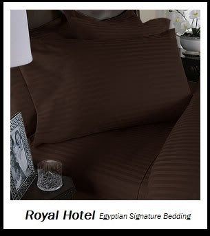 Royal's Striped Chocolate 800-Thread-Count 4pc California...