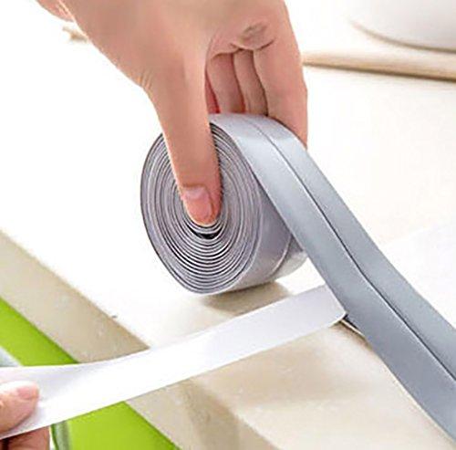 Lldaily Kitchen Waterproof Mildew Tape Self Adhesive Tub and Wall Sealing Tape Caulk Sealer Wall Caulk Strip,Gray,11'x1-1/2