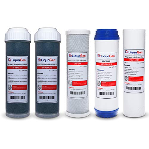 (LiquaGen - Yearly Replacement Kit for 6 Stage Universal RO/DI Systems (Sediment,UDF, Carbon, 2 DI Filters))