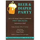 Beer & Diaper Baby Shower Invitations, Dad, Little Man, Dadchelor, BBQ, Man Shower, Custom, Set of 10 Printed Invites and Envelopes