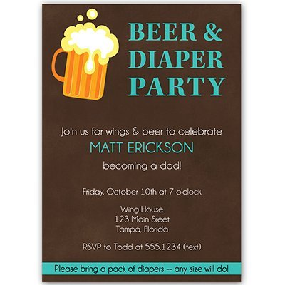 Dadchelor Baby Shower Invitations, Dad, Little Man, Wings, Pizza, Cookout, Barbeque, BBQ, Man Shower, Personalized, Customized, Set of 10 Printed Invites and Envelopes, Beer and Diapers