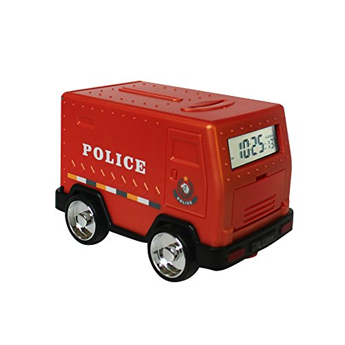 Mydears Armored Car Piggy Bank Password Electronic Smart Money Bank Cash Coin Safe Saving Box ATM Bank Safe Locks Funny Alarm Clock Money Piggy Box for Children From (Red police car)