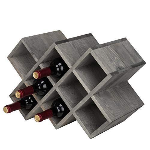 - MyGift Vintage Gray Wood 8-Bottle Countertop Wine Rack