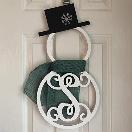 - Monogram Snowman Door Hanger - Winter Door Hanger - Snowman Initial Wreath - Monogram Snowman Wreath - Winter Door Decoration - Wood Hanger