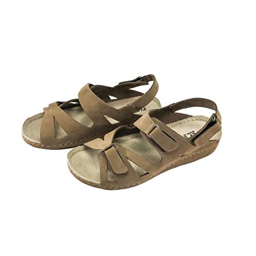 Fly Soft Lilly Women Casual Nubuck Leather Comfort Arch Supportive Wedge Sandals Trends Shoes (7, Dark Beige)