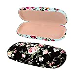 2 Pack Durable Floral Small Eyeglass Case Hard Protective Eye Case for Glasses (Black+Blue)