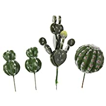 LJY 4 Pieces Realistic Artificial Tall Cactus Faux Succulent Greenhouse Assorted Small Plants Unpotted for Home Garden Decoration