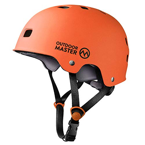 OutdoorMaster Skateboard Helmet - CPSC Certified Lightweight, Low-Profile Skate & freestyle BMX Helmet with Removable Lining - 12 Vents Ventilation System - for Kids, Youth & Adults - M - Orange (Womens Skateboard)