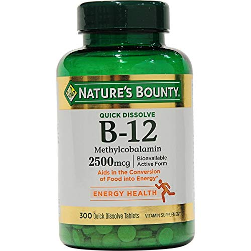 Nature's Bounty Quick Dissolve Fast Acting Vitamin B-12 2500 mcg, Natural Cherry Flavor (300 tablets)