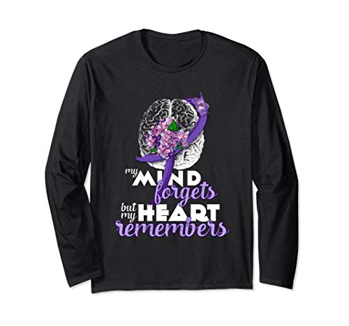 (Alzheimers Patients | Purple Ribbon Vintage Flowers Long Sleeve T-Shirt)
