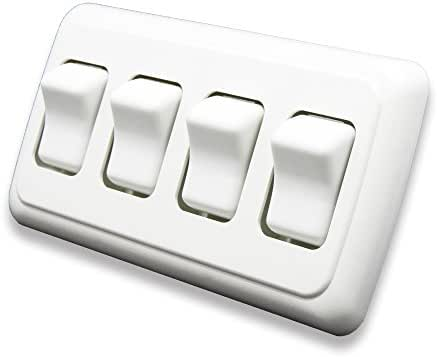 American Technology Components Quad SPST On-Off Switch with Bezel, 12-Volt, for RV, Trailer, Camper (White)