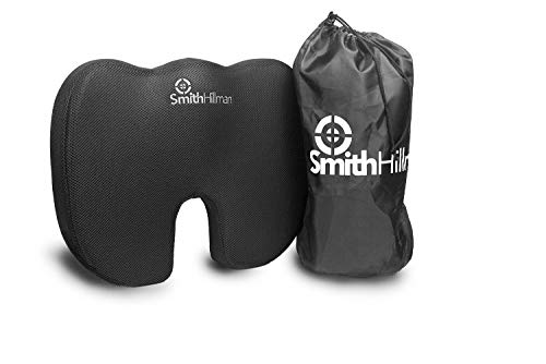 Coccyx Orthopaedic Memory Foam Seat Cushion – SITTING PAIN RELIEF! From Sciatica, Lower Back and Coccyx/Tailbone Pain  Fits Most Car & Plane Seats   Includes Storage Bag (Black, 3D Breathable Mesh)