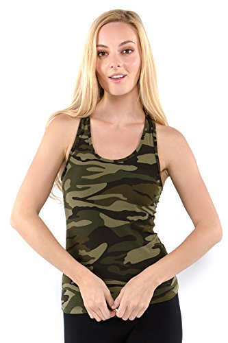 Vibrant Vixen Women's Yoga Sports Tank-Top and Bra with Removable Pads Camouflage Print Workout Crop Top (VCMTT-Green, - Print Athletic Top Tank
