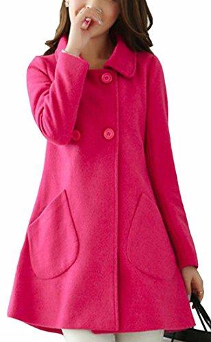 Jaycargogo Women Casual Winter Wool Overcoat Long Swing Coat Jacket 3 S