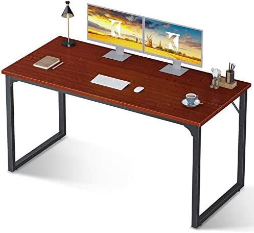 "Coleshome Computer Desk 55"", Modern Simple Style Desk for Home Office, Sturdy Writing Desk,Teak"