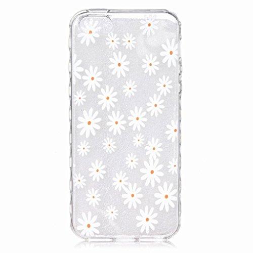 Yiizy Apple iPhone SE / 5s Custodia Cover, Bel Fiore Design Ultra Sottile Morbido Gomma Silicone TPU Trasparente Cover Case Premium Bumper Leggero Protettivo Cristallo Clear Durevole Skin Case Cover C