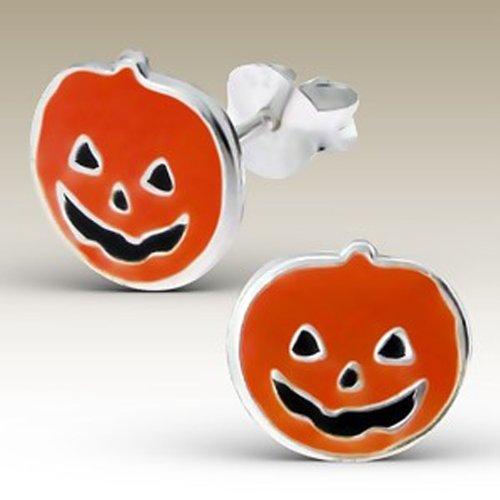 Cute Halloween Pumpkin Earrings Sterling Silver Posts Studs Children Girls Nickle Free (E13278)