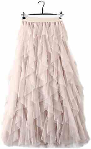 6c667373d Women's Tulle Skirt High Elastic Waist Irregular Pleated Midi Skirt Sheer Tutu  Tulle Skirt