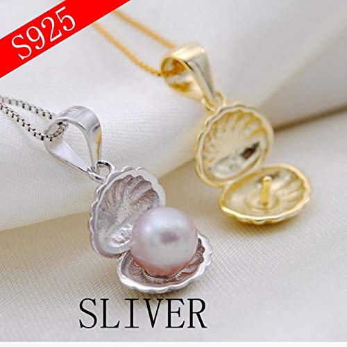 Gabcus Small Shell 925 Silver Pearl Pendant Buckle Pendant Beads Pendant Empty Care Material DIY Accessories Jewelry - (Metal Color: Sterling Silver)