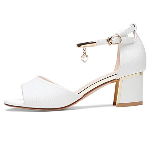 Sandals PU Upper Wrap Heel Fish Mouth Female Summer Thick Heel Mid Heel Shoes Casual Shoes White 3WRYLr