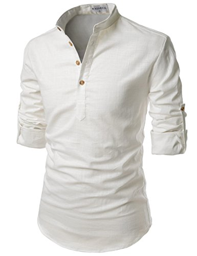 NEARKIN (NKNKN350) Beloved Men Henley Neck Long Sleeve Daily Look Linen Shirts IVORY US XL(Tag size (Ivory Thermal Shirt)