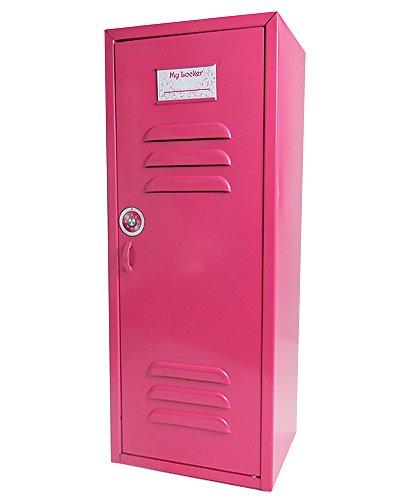 18 Inch Doll Storage Locker in Hot Pink by Sophia's| Metal School Locker Measures 6 x 7 x 18 - Metal Pink Name Hot