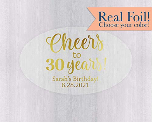 Oval Birthday Favor Stickers, Gold Foil on Clear Transparent Cheers to Years (#152-OV-CF) (Oval Labels Favor)
