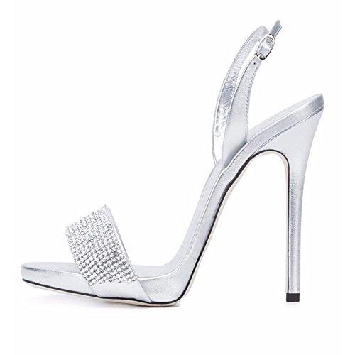 Et Strass Sandales à hauts Party Europe États Unis SHINIK Mesdames talons Chaussures 2018 Sandales Femmes Argent Les IqPnnBwgC