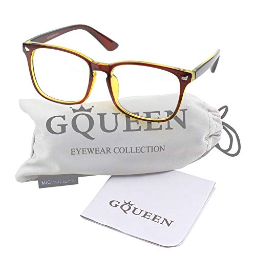 GQUEEN 201582 Large Oversized Frame Horn Rimmed Clear Lens Glasses,Brown Gold