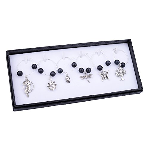 Silver Plated Cat's Eye Glass Wine Glass Charm Rings Earring Beading Hoop Party Favor 6 Pcs Cat Plated Brooch