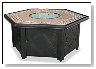 UniFlame 55-in. LP Gas Outdoor Firebowl with Decorative Tile Mantel