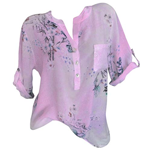 - Goddessvan 2019 Summer Casual Women Loose Half Sleeve Printed Button Shirt Blouse Pink
