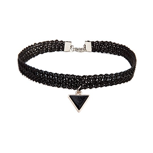 Zehui Sexy Gothic Black Lace Choker Chain Triangle Pendant Necklace Jewelry for Women