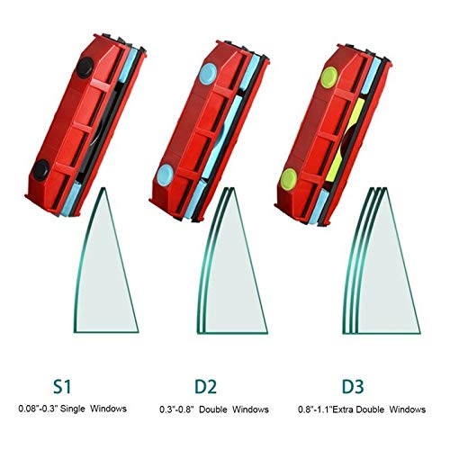 (Magnetic Window Cleaner Glass Single Double Side Wiper - The Original Glider (0.3-0.8