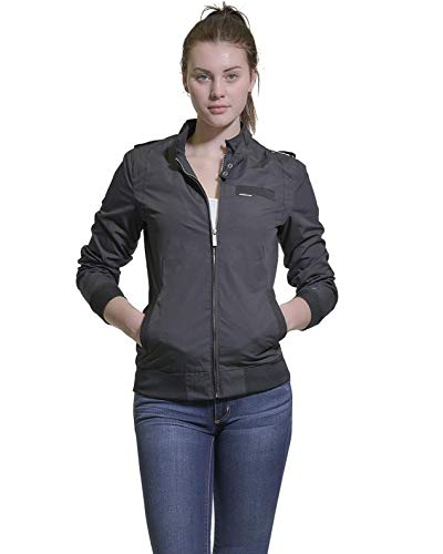 Womens Racer Jacket - Members Only Women's Classic Iconic Racer Jacket - Black  M