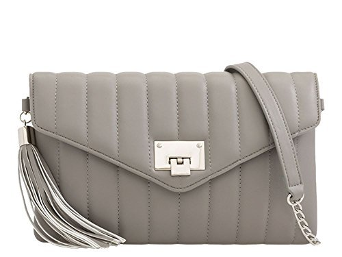 Diva Clutch Bag Grey for Quilted Haute Tassel Women Grey qOSwFH