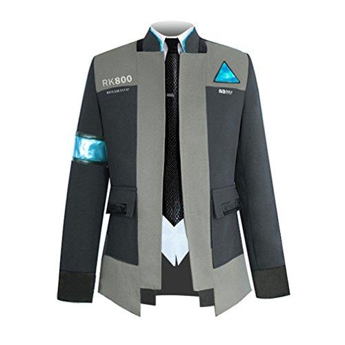Game Detroit Human Connor Coat Uniform Halloween Cosplay Costumes (Asian Small, Black (Tie Coat Shirt)) -
