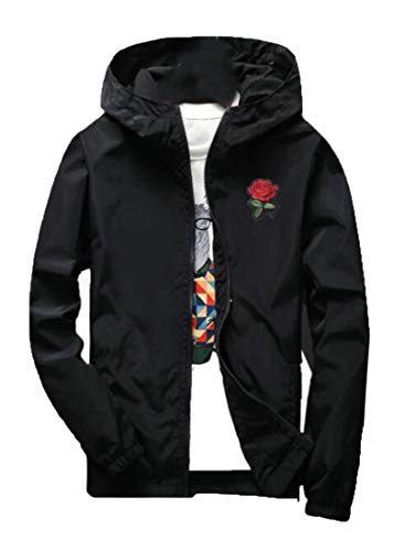 Embroidery Black Weight Biker Casual Light Hooded Size Jacket Plus Women GRMO xv4wFqaw