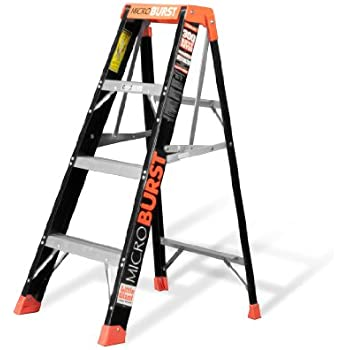 MicroBurst Fold-Flat 375-Pound Duty Rating Fiberglass Stepladder, 4-Foot