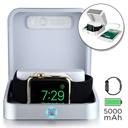 SUMATO WATCHBOX Charging Case for Apple Watch 4 3 2 1 [Travel Battery Charger Case] MFI Certified 5000mAh Power Bank, Charges iWatch & iPhone (Silver) ()