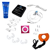 Underwater Audio 100% Waterproofing Compatible with iPod Shuffle, Swimbuds Sport Headphones, AquaGuard, and iFloatie (Hot Pink)