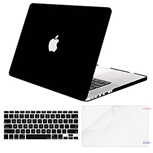 MOSISO MacBook Pro 15 Inch Case A1398 with Retina Display,Plastic Hard Shell Case & Keyboard Cover & Screen Protector Compatible with Older Mac Pro 15 Inch Release End 2012-2015,Black