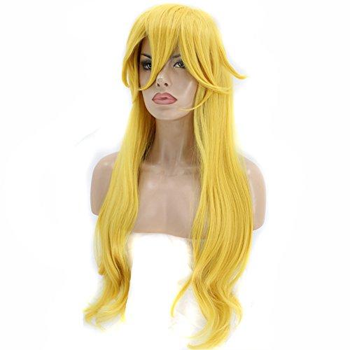Princess Peach Wig (Anogol Hair Cap+Princess Wig Long Wavy Halloween Cosplay Wig Yellow Costume Wigs)