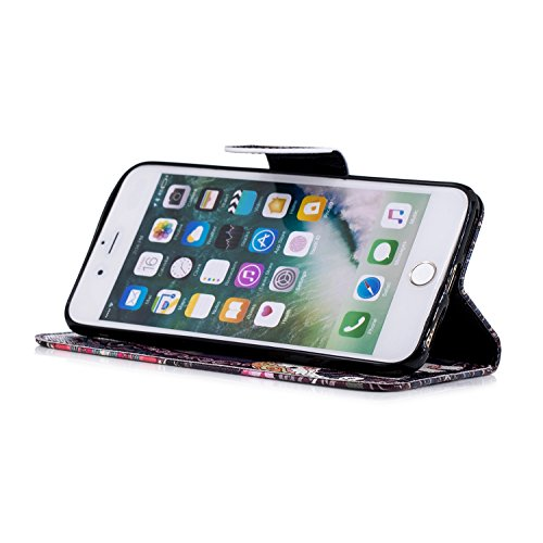COZY Plus Housse iPhone Coquille Wallet PU Coque Cuir Plus Couverture Flip avec Fonction iPhone Cover Stand et Etui Case de 8 Etui Protector Leather Portefeuille pour fleur de Coque HUT 7 Éléphant Fent Protection Swag Xxq8IT
