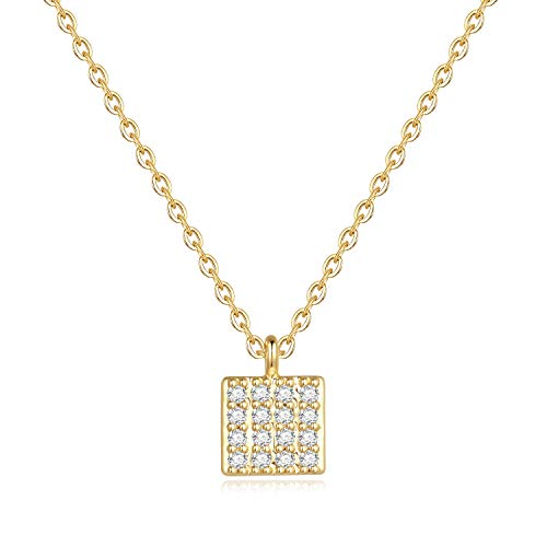(Square Box Necklace for Women Gifts - Gold Plated Tiny Square Box Pendant CZ Necklace for Women Girls, Dainty CZ Necklace Best Birthday Gifts Wedding Gifts for Women Bridesmaid Gifts for Girls)