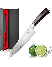 Deik Couteau de Cuisine, Couteau de Chef Professionnel Couteau de Cuisine 20cm Lame en Acier Inoxydable avec Poignée Ergonomique Anti Dérapante-Asmeten, Boîte-Cadeau (SIZE-02)